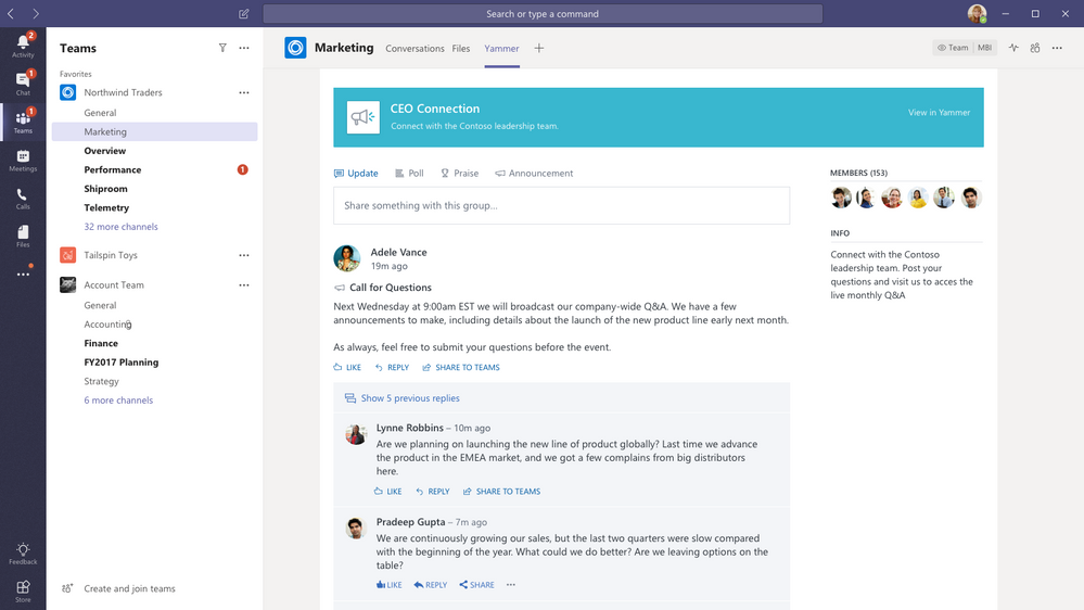 marketing group on yammer